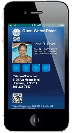 Padi Ecard Scuba Diving Certification Replacement Card